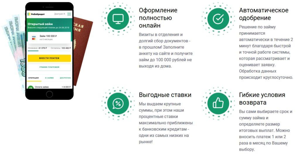 МФО РобоКредит - преимущества